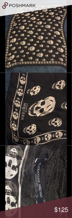 Alexander MCQueen  black and white skull scarf Alexander MCQueen  Skull chiffon scarf . 104x120 cm , silk . From Harrods 2015 . Gently used great condition Alexander McQueen Accessories Scarves & Wraps