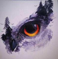 Inktober - Day 14 Owl Protector by pies-porucznik on DeviantArt Watercolor Owl Tattoos, Owl Tattoo Drawings, Owl Watercolor, Watercolor Sketchbook, Bird Drawings, Cool Art Drawings, Watercolor Animals, Watercolor Paintings, Ox Tattoo