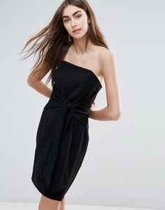 ADELYN RAE TUBE DRESS WITH TIE FRONT - BLACK. #adelynrae #cloth #