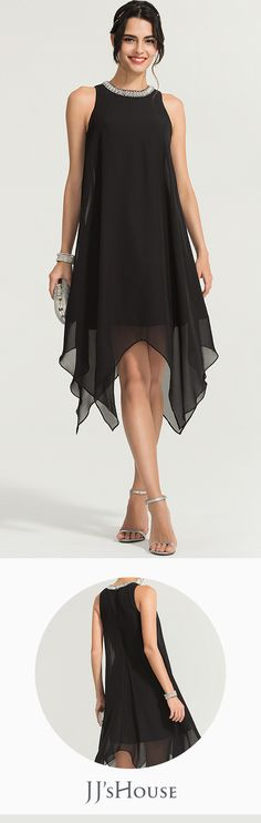 You will have different surprise when you wear this beaded scoop neck cocktail dress! Stealing the show with every step, the chiffon skirt cascades over the knee and opens with an asymmetrical hem. Cocktail Movie, Cocktail Sauce, Cocktail Shaker, Cocktail Recipes, Dress Prom, Dress Wedding, Party Dress, Dress Up, Cocktail Attire