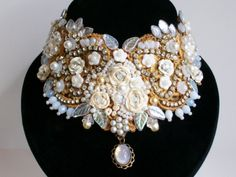 Pure and Perfect choker in off whites by Bohemianwhimsey on Etsy, $285.00