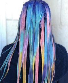 P R O C E S S by @shelleygregoryhair | Too Cute Coral • Blissful Blue • Silver • Yellow • Pink • Violet • Mystical Mint • | #pravana #pravanavivids