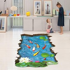 Iuhan Fashion 3D Stream FloorWall Sticker Removable Mural Decals Vinyl Art Living Room Decor * To view further for this item, visit the image link.