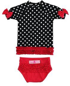 5e14fcc7a RuffleButts Baby/Toddler Girls Rash Guard 2Piece Swimsuit Set Black and  White Polka Dot Bikini