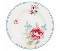 """GreenGate Kuchenteller """"Small plate Meryl"""" pale grey D: 15 cm"""