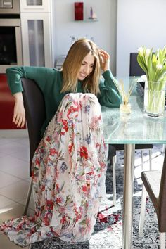 CL8B2755-2 Floral, Green, Skirts, Fashion, Florals, Moda, La Mode, Flowers, Skirt
