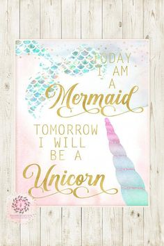 Today I Am A Mermaid Tomorrow I Will Be A Unicorn Wall Art Print Ethereal Baby Girl Nursery Whimsical Floral Pink Gold Printable Decor #BathroomIdeas Unicorn Room Decor, Unicorn Wall Art, Unicorn Bedroom, Unicorn Rooms, Mermaid Wall Art, Mermaid Prints, Girl Nursery, Girls Bedroom, Bedroom Ideas