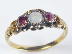 STUNNING ANTIQUE VICTORIAN ENGLISH 15K GOLD OPAL ALMANDINE GARNET RING c1860 | eBay