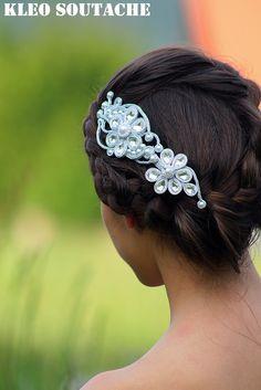 Kleo trenza / soutache joyas Ribbon Jewelry, Hair Jewelry, Beaded Jewelry, Wedding Hair Accessories, Wedding Jewelry, Soutache Tutorial, Queens Jewels, Soutache Necklace, Passementerie