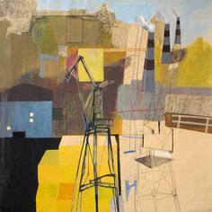 """urban landscape 104,"" original abstract painting by artist Nisja Nisja (Netherlands) available at Saatchi Art #SaatchiArt"