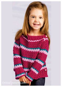 Crochet Patterns Sweaters Little girl crochet sweater pattern free I wonder if I could do this Crochet Toddler, Crochet Girls, Crochet Baby Clothes, Crochet For Kids, Free Crochet, Free Knitting, Crochet Children, Kids Knitting, Free Sewing
