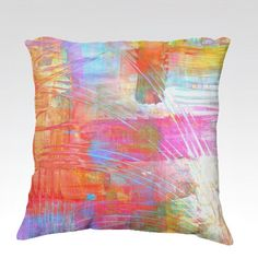 DANCE WITH ME Cozy Fine Art Velveteen Throw Pillow by EbiEmporium #colorful #pastel #neon #feminine #girly #chic #lovely #abstract #art #fineart #swirls #stripes #painting #decor #homedecor #pink #orange #coral #aqua #cerulean #blue #turquoise #white #yellow #happy #decorative #velveteen #luxury #dorm #bedroom #bedding #livingroom #rainbow #multicolor #brushstrokes #cushion #pillowcover