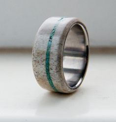 Mens Wedding Band Antler and Turquoise Ring - Staghead Designs