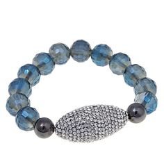 "Joan Boyce ""Edgy Chic"" Pavé Station Faceted Bead Stretch Bracelet - Blue"