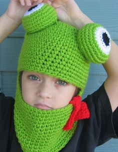 Crochet Pattern Frog Hat Hood for Adult Child Boy or Girl - FREE Bow Tie Pattern - Easy Crochet PDF - Permission to Sell p126. $4.99, via Etsy.
