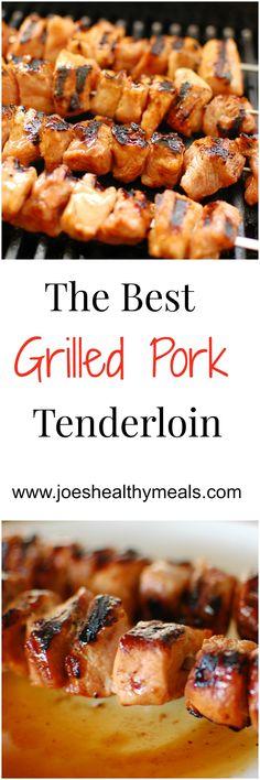 Pork Tenderloin Grilled pork tenderloin kicked up with Sriracha hot sauce and brown sugar. Super easy and delicious!Grilled pork tenderloin kicked up with Sriracha hot sauce and brown sugar. Super easy and delicious! Grilling Recipes, Pork Recipes, Cooking Recipes, Healthy Recipes, Healthy Meals, Healthy Grilling, Grilled Pork Loin, Pork Meat, Grilling