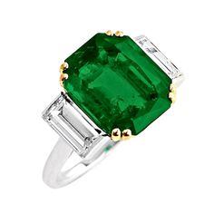 Cartier 1940s Colombian No Oil Emerald Three Stone Ring | From a unique collection of vintage engagement rings at http://www.1stdibs.com/jewelry/rings/engagement-rings/