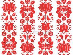 Kalocsai emrboidery красный бесшовной patternn - цветочные народного искусства фон