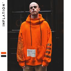 INFLATION Oversized Letter Sleeve Drawstring Hoodies 2018 Autumn And Winter Brand Sweatshirts Men Loose Streetwear Hooded Mode Streetwear, Streetwear Fashion, Stylish Hoodies, Cool Outfits, Fashion Outfits, Mens Sweatshirts, Custom Clothes, Street Wear, Clothing Accessories