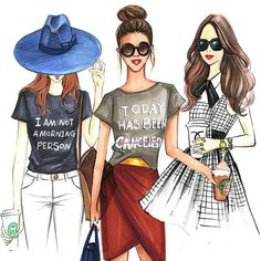 Fashion sketches of fashion bloggers by Houston fashion illustrator Rongrong DeVoe