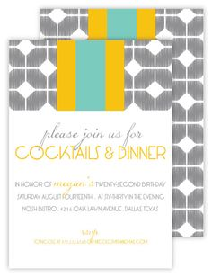 This patterned invitation paired with a colorful rugby stripe makes a fresh impression!