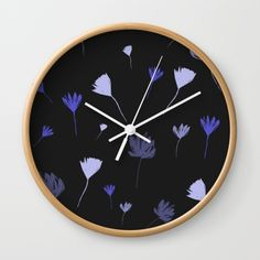 Flowers in the Night I Wall Clock by swavstudio