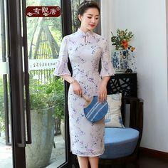 Bell Sleeve Modern Chiffon Qipao Cheongsam Dress - Qipao Cheongsam & Dresses - Women Casual Dresses, Fashion Dresses, Prom Dresses, Chinese Gown, Batik Fashion, Women's Fashion, Mama Cloth, Cheongsam Dress, Batik Dress