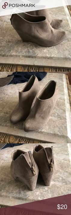 Taupe wedge booties Super cute 4 inch wedge taupe back zipper booties Call It Spring Shoes Ankle Boots & Booties