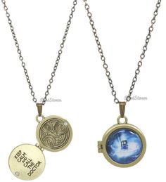 NEW DR Doctor Who Gallifreyan Locket Necklace Tardis Jewelry Gold Metal OPENS