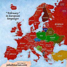 """February"" in European languages - - - source: jakubmarian.com - #maps #map #statistics #statistic #country #countries #amazing #geography #follow #interesting #facts #fact #info #information #eu #europe #language #february #februar #febrero #german #english #french #spanish #italian #germany #uk #france #spain #italy  via ✨ @padgram ✨(http://dl.padgram.com)"