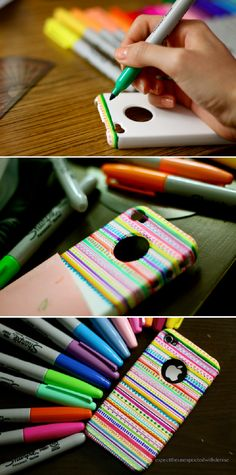 DIY Tribal print iPhone case - 16 Easy and Cool Sharpie Crafts You'll Love | GleamItUp