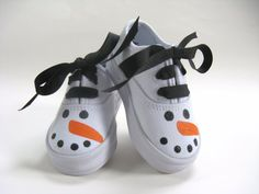 Snowman Shoes with Hand Painted Snowmen Faces on White Canvas Sneakers for Baby and Toddler - Christmas - Shoes