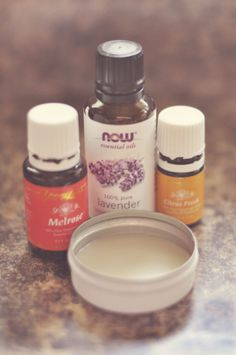 Easy DIY Solid Perfume - coconut oil, beeswax & essential oil. I'd add in some vitamin E.