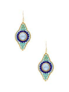 Blue Multi Freeform Drop Earrings