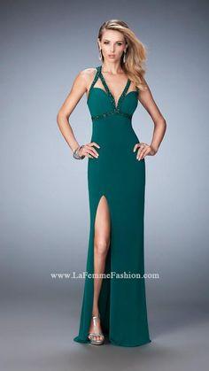Rochie La Femme Fashion 22284 rochie verde lunga model slipdress din jerse cu aplicatii, cu decolteu adanc si spatele gol, o rochie eleganta de nunta.