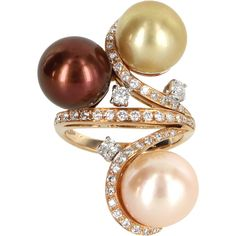 Pre-Owned Cultured South Sea Pearl Diamond Cocktail Ring Vintage 18k... ($2,295) ❤ liked on Polyvore featuring jewelry, rings, rose gold, rose gold rings, vintage jewelry, 18k ring, cocktail rings and rose gold cocktail ring