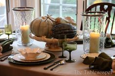 Harvest tablescape with leaf bowls from HomeGoods