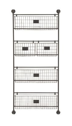 The DecMode Metal Wall Basket are perfect for your office as well as any room in the home. The four-tiered rack is made from gorgeous black iron,. Metal Wall Basket, Metal Baskets, Baskets On Wall, Vintage Boys Bedrooms, Organizar Closet, Ideas Vintage, Vintage Style, Wall File, Smart Tiles