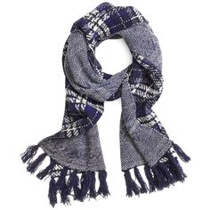 Brooks Brothers Wool Plaid Cable Knit Scarf ($98) ❤ liked on Polyvore featuring accessories, scarves, navy, brooks brothers scarves, tartan scarves, navy blue shawl, fringed shawls and plaid scarves