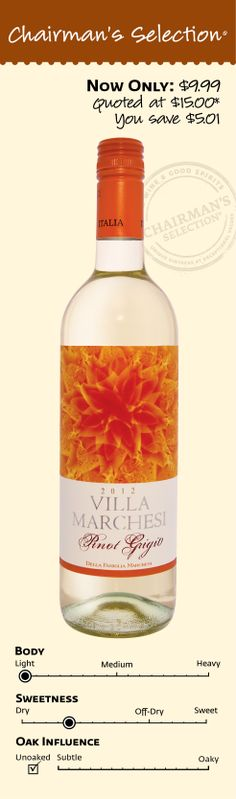 "Villa Marchesi Pinot Grigio 2012: ""From Friuli, one of the best wine growing regions in Italy. Subtle notes of ripe peach and pear. Light, crisp and dry."" *Winemaker's notes. $9.99"