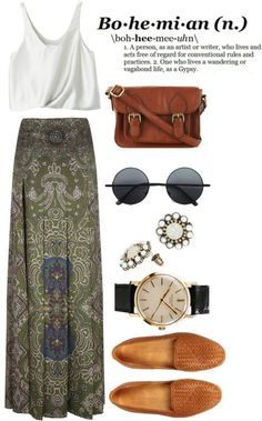 Bohemian. I'd wear a lacy poet shirt instead of a little tank.