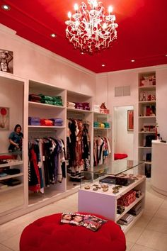 This walk in closet is a must.. I would change the paint from red to pink though of course!!