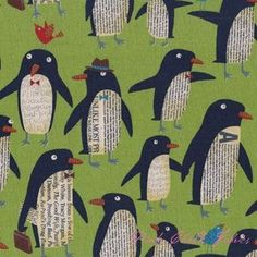 blue penguin canvas fabric by Nancy Wolff Kokka - Animal Fabric - Fabric - kawaii shop Journal D'art, Newspaper Art, Penguin Art, Winter Art Projects, Modes4u, Kindergarten Art, Animal Crafts, Art Plastique, Art Activities