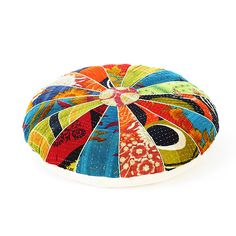 Colorful Kantha Round Floor Pillow Cushion Cover - 22"