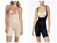 NWT SPANX  OnCore Open-Bust  Bodysuit Power Shaper Mid Thigh Black Nude