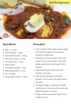 Peri-peri egg curry is a delicious treat to your loved ones. Egg Recipes Indian, Healthy Indian Recipes, Veg Recipes, Curry Recipes, Vegetarian Recipes, Chicken Recipes, Cooking Recipes, Ovo Vegetarian, Recipies