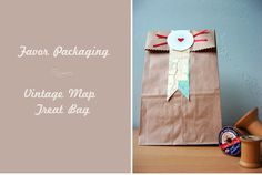 DIY Treat Bags using vintage maps, great for a travel themed wedding favor