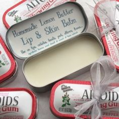 This rich Lemon Butter Balm is amazing, versatile, & super cute in upcycled Altoids tins! Use as a lip balm, cuticle cream, hand cream, etc!