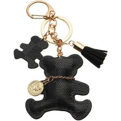 Leather Bear Tassel Handbag Keychain (33 HRK) ❤ liked on Polyvore featuring accessories, fob key chain, leather key ring, key chain rings, leather key chain and leather tassel key ring