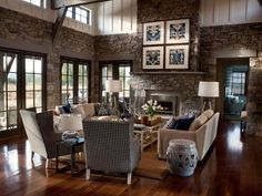 love the stone and woodwork above... great light